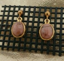 Rhodonite Drop Earrings Beatle carved pink stone on gold tone posts pierced EUC