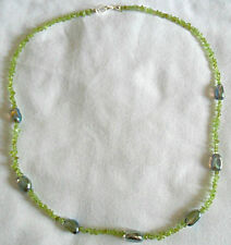 """25"""" necklace, Peridot + Rock Crystal nuggets"""