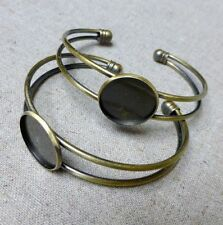 pack of 2 - Antique bronze bracelet component with cabochon base, setting