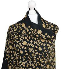 Black Gold Indian Hand Embroidered 100% Pashmina Shawl Wrap Scarf Hijab Kashmir