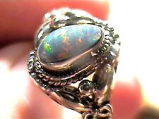AUSTRALIAN Silver RING SOLID OPAL ESTATE 6 NATURAL STERLING 925 lady girl small