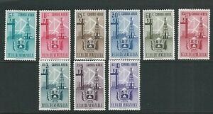 VENEZUELA 1951 ARMS of ZULIA AIRMAIL set (Sc C347-355) UNUSED no gum