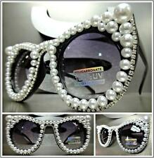 OVERSIZED VINTAGE CAT EYE Style SUN GLASSES Black Frame White Pearls Rhinestones