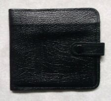 Wallet Vintage Leather BLACK  BI-FOLD CARDS NOTES 1970s MADE IN BRITAIN