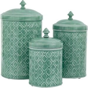 SET OF 3 SAGE GREEN EMBOSSED METAL CANISTERS LARGE/MEDIUM/SMALL