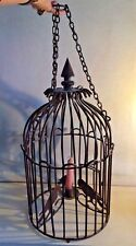 Very Large Vintage Wrought Ironwork Hanging Candle Birdcage Excellent Condition