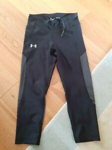 Ladies Under Armour Cropped Running Leggings Black Size S
