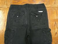 ECKO UNLTD MENS BLACK 10 POCKET CARGO PANTS HEAVY DUTY ACTUAL 37x32 Tag 36 T97