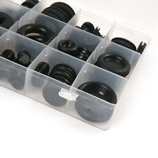 125pc O Ring Rubber Grommet Assorted Set Blanking Wiring Cable Open/Closed Blind