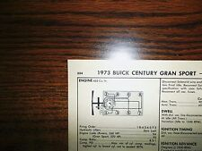 1973 Buick Grand Sport & Riviera Stage 1 455 V8 SUN Tune Up Chart Great Shape!