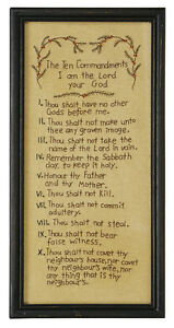 Stitcheries by Kathy Sign - Ten Commandments - 50x25cm Frame