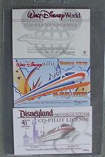 Disneyland  - MEGA  RARE MONORAIL CO-PILOT CARD  X 3 DIFFERENT - COMPLETE SET