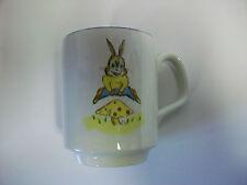 Vintage Lord Nelson Pottery England Coffee Mug Cup w/ Bunny Rabbit & Mushroom
