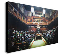 BANKSY Chimps Houses Of Parliament -Canvas Wall Art Framed Print. Various Sizes