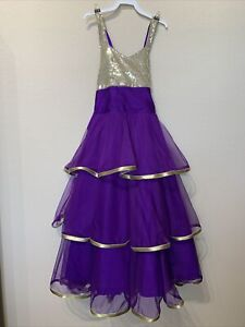 Girls backless frilled sequined ball gown dress party wedding formal purple 6-8y