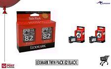 LEXMARK TWIN PACK INK CARTRIDGES 82 Black BNIB Computer Printer Images
