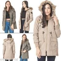 Womens Brave Soul Faux Fur Hooded Jacket Ladies Winter Padded Parka Zip Coat S M
