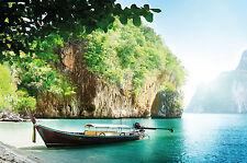 Strand mit Boot Fototapete Boot in einer Bucht Tapete Paradies 336cm x 238cm