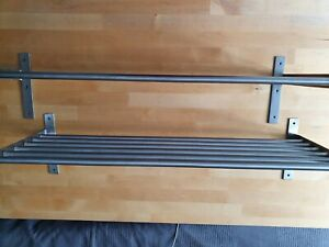 2 IKEA GRUNDTAL Edelstahl Handtuchhalter Handtuchstange Regal 80 cm 4 Stangen