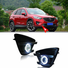 For Mazda CX-5 2013-15 Full Fog Light Lamp Kit COB Angel Eye Bumper Cover Lens s