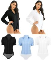 Women;s One Piece Bodysuit Turn-down Collar Blouse Button Down Jumpsuit Rompers
