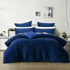 Bianca Alden Indigo Blue Plush Velvet Quilt Doona Cover Set   Super King