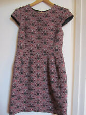 Miss Selfridge Short Pink & Black Floral Cap Sleeve Wiggle Dress in Size 10