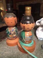 Two Large Vintage Kokeshi Doll Wood Japanese Lamps