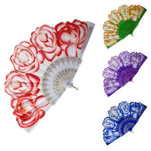 Spanish Rose Glitter Hand Held Folding Fan Flamenco  Dance Fancy Dress Wedding