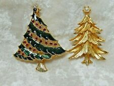 Christmas Tree Brooches Lot of Two Manselle