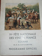 ALSACE COLMAR IV FÊTE DES VINS PROGRAMME 1936 ( ref 38 )