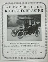 PUBLICITÉ PRESSE 1905 AUTOMOBILES RICHARD BRASIER GAGNE LA COUPE GORDON-BENNETT