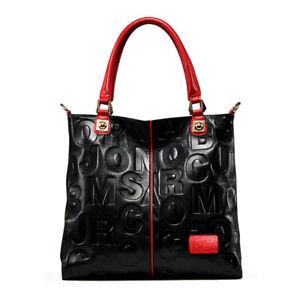 Genuine Leather Embossed Letter Women's Handbag Shoulder Bag Satchel QR  Hobo