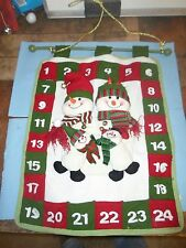 21 inches long Hanging Pocketed Christmas Snowman Calander *BW3-1