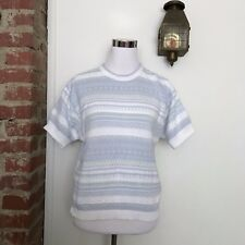 Vintage LL Bean Pastel Knit Short Sleeve Sweater Womens Size M Hipster Fairy Kei