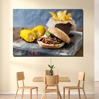 Burger Corn and Fries Kitchen Dining and Cafe Decor Canvas Art Print