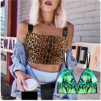 Women's Summer Glittery Leopard Tank Top Vest Blouse Sleeveless Crop Tops Shirt