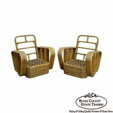 Paul Frankl Style Vintage Pair of Bamboo Rattan Lounge Chairs (B)
