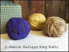3 Primitive Antique old Amish Rag Balls Early Fabrics Purple Yellow & Brown aafa