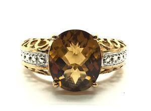 Sterling Silver Gold Tone Faceted Oval Cognac Citrine Swirl Cocktail Ring 7.75