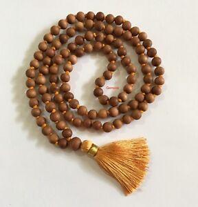Sandalwood Mala Necklace 7 mm 108 Prayer Beads Hindu Meditation Buddhist Tibetan