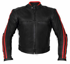 Giacca Moto in Pelle JF-Pelle mod. 3164Nero-ROSSO