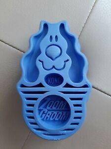 Genuine KONG Zoom Groom Blue Bath Brush Soft Rubber Brush Size L Dog. Used. VGC.