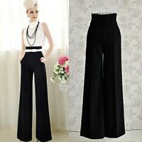 Sexy Women Casual High Waist Flare Wide Leg Long Pants Palazzo Trousers Black