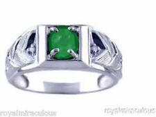 Mens Emerald & Diamond Ring 14K White Gold