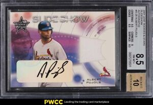 2001 Leaf Rookies & Stars Slideshow Albert Pujols ROOKIE PATCH AUTO /100 BGS 8.5