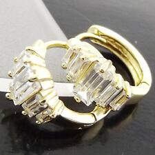 FS976 GENUINE 18K YELLOW G/F GOLD SOLID DIAMOND SIMULATED HUGGIE HOOP EARRINGS