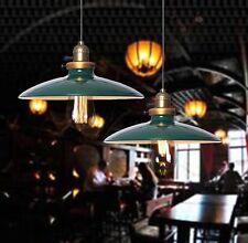 Retro Vintage Metal Ceiling Lamp Shade Chandelier Pendant Light Loft Cafe Bar Dark Green 60w Filament Bulb