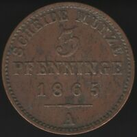 1865 A German States Prussia 3 Pfennig Coin | European Coins | Pennies2Pounds
