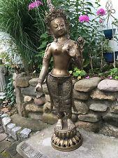 "30"" BODHISATTVA GODDESS TARA KWAN YIN BRASS SCULPTURED STATUE TIBETAN BUDDHISM"